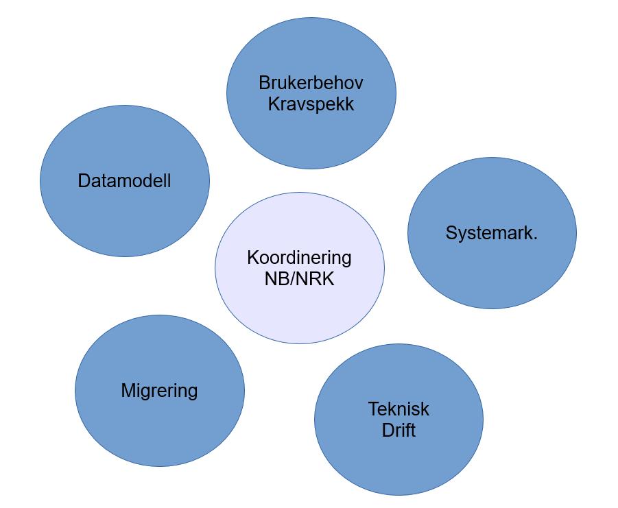 Koordinering NB/NRK; brukerbehov og kravspekk; systemarkitektur; teknisk drift; migrering; datamodell.