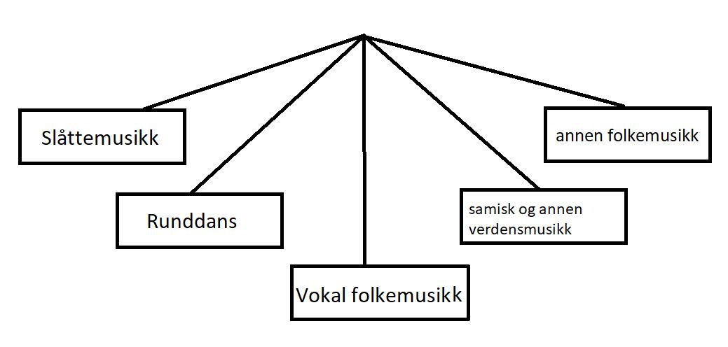 Slåttemusikk, runddans, vokal folkemusikk, samisk og annen verdensmusikk, annen folkemusikk.