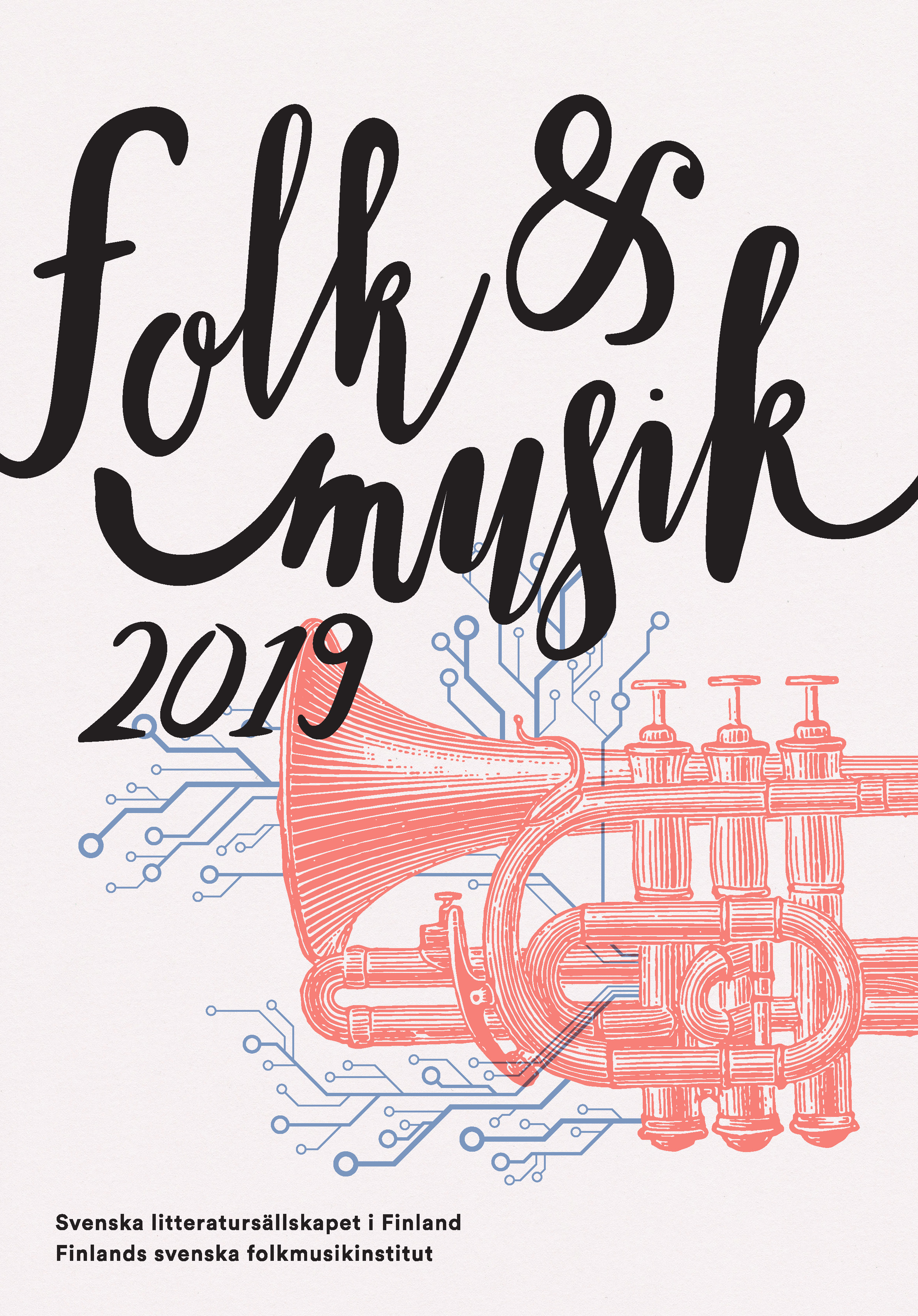 Omslag till Folk och musik 2019, utgiven av Svenska litteratursällskapet i Finland och Finlands svenska folkmusikinstitut.